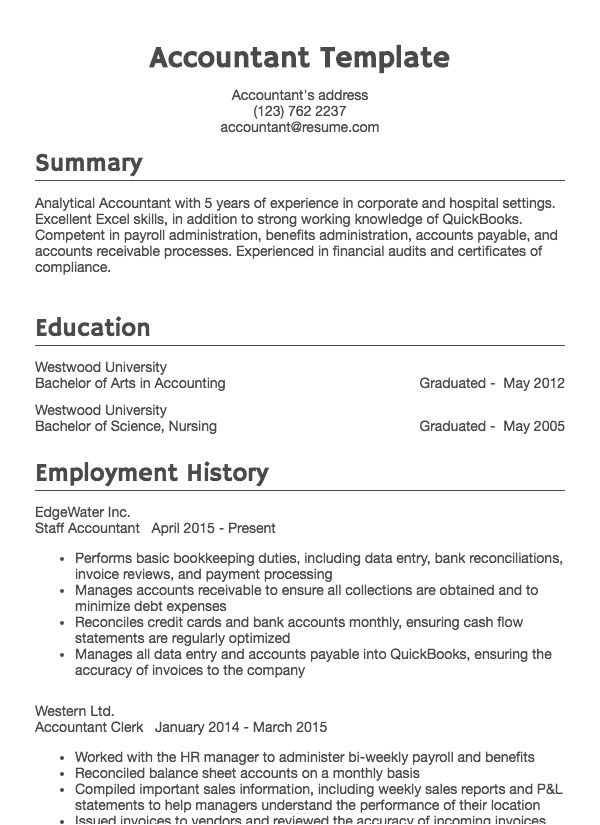 Accounting Resume Sample Accountant Drafted Examples Resume Com