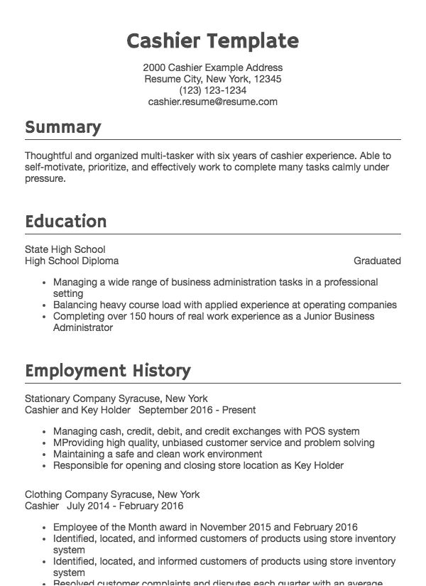 Customer Service Cashier Resume Template