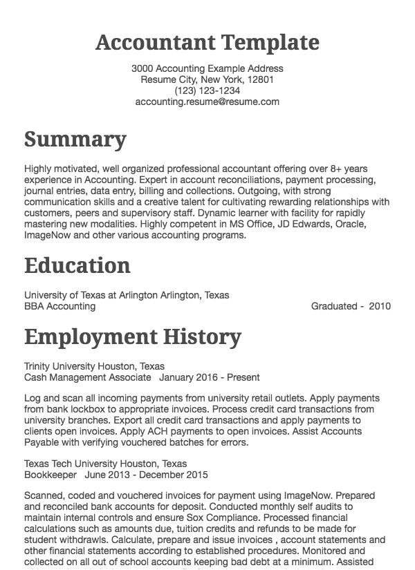 Accounting Resume Samples All Experience Levels Resume