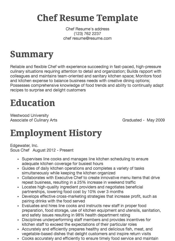 thumbnail image of Chef Resume resume from Resume.com