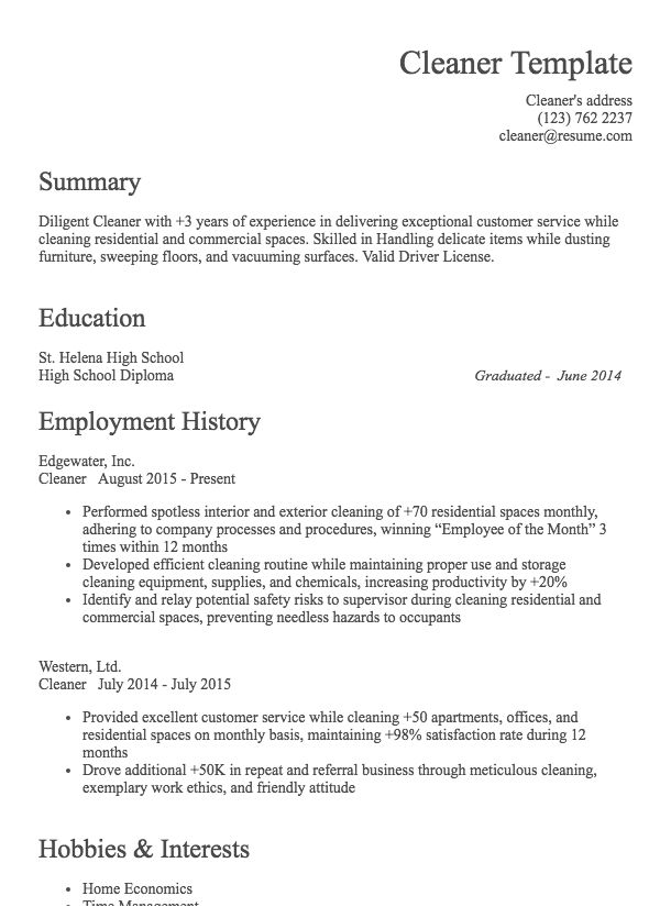 Cleaner Resume Example   Resume