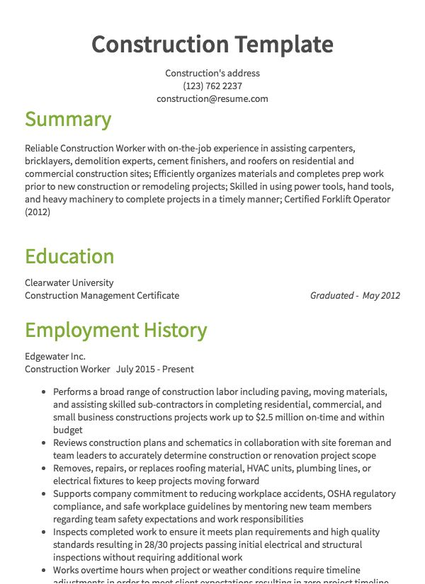 Construction Resume Sample Resume Com