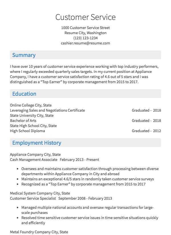Résumé.com thumbnail image of customer service resume examples