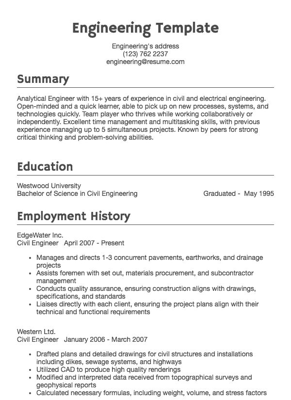 thumbnail image of Engineering resume from Resume.com