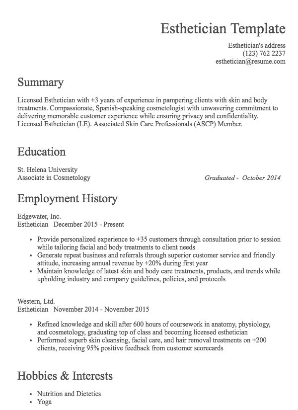 hair stylist resume example