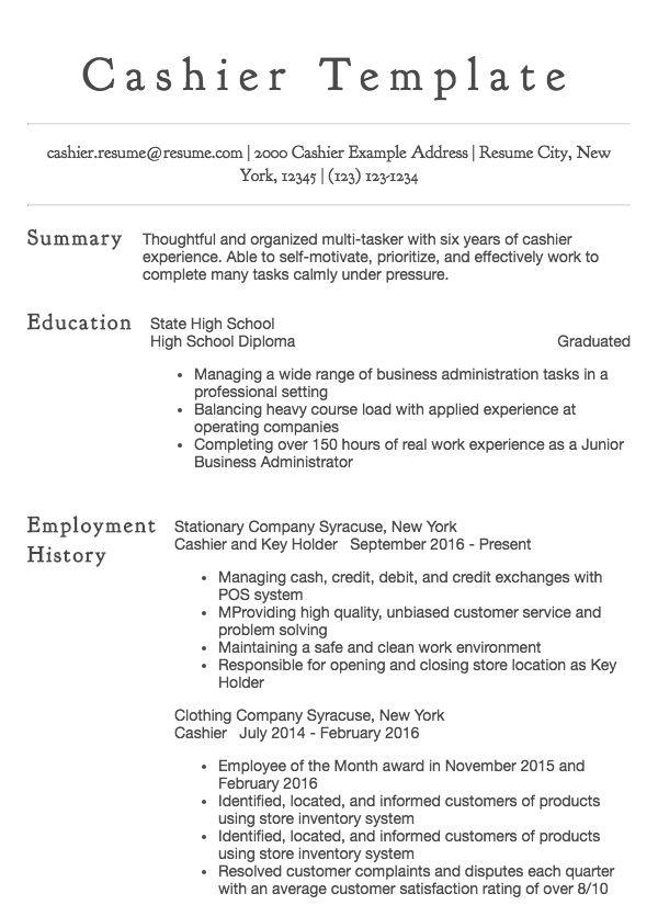 thumbnail image of cashier resume sample from Résumé.com