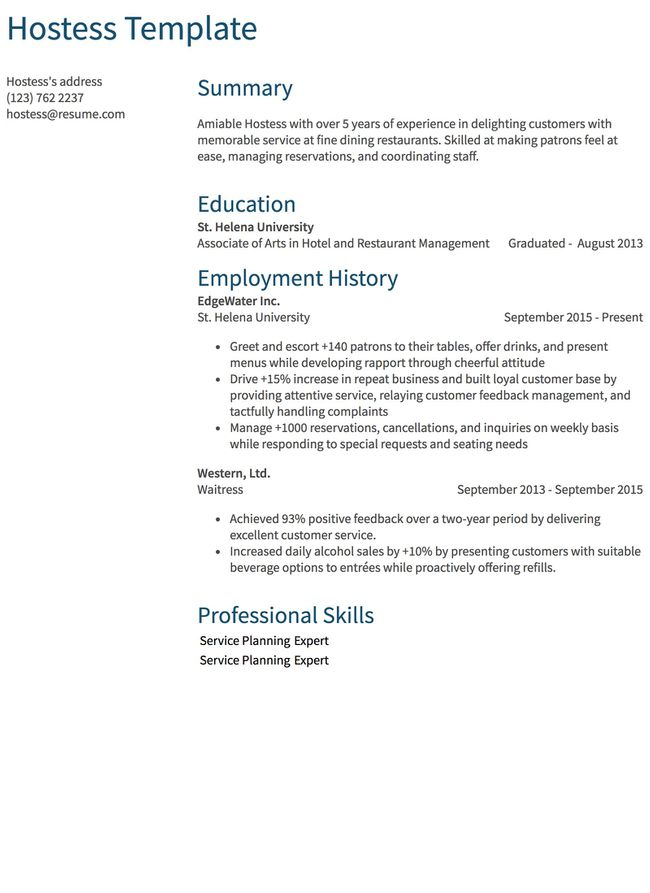 thumbnail image of food service resumes  from Resume.com