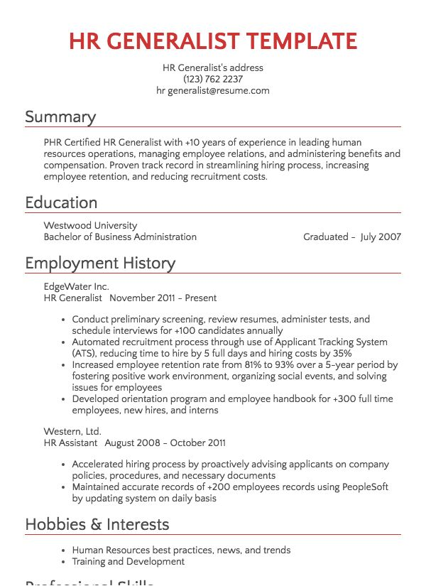 Human Resources Resume Samples Resume Com