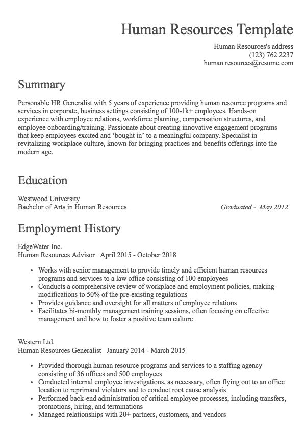Human Resources Resume Example | Resume com