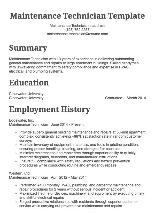 Maintenance Technician Example View Other Sample Resumes