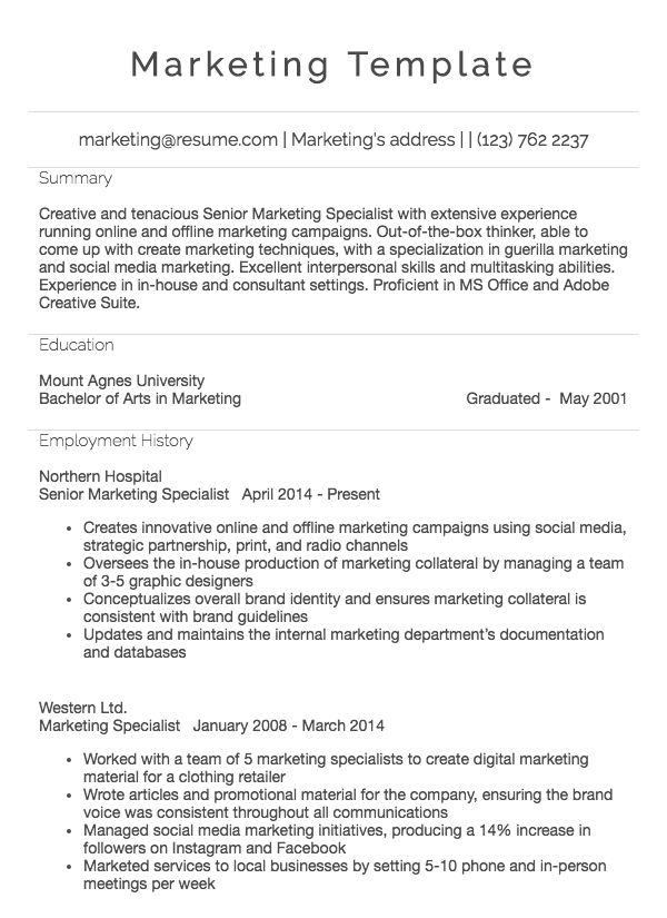 Sales Marketing Resume Example