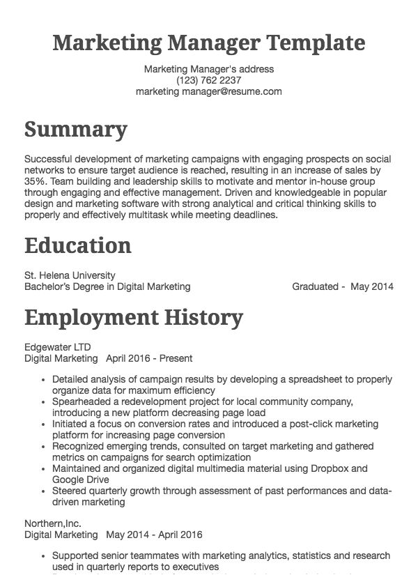thumbnail image of Marketing Manager resume from Resume.com