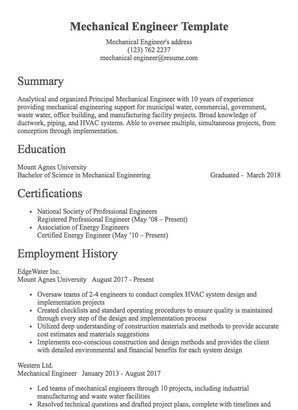 Mechanical Engineer Example Architect Resume