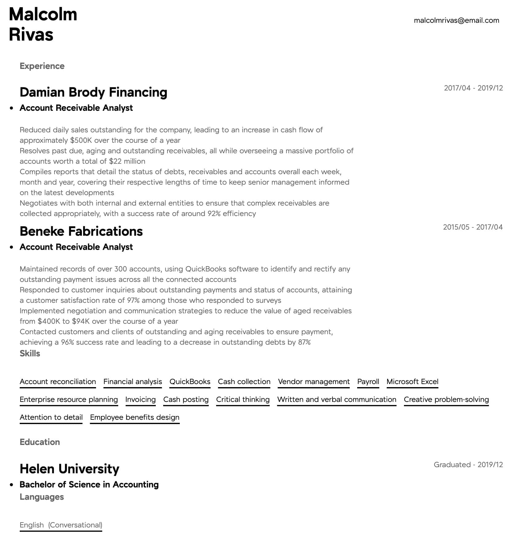Account Receivable Analyst Resume Samples