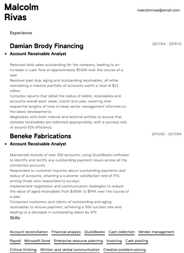 thumbnail image of Account Receivable Analyst resume from Resume.com