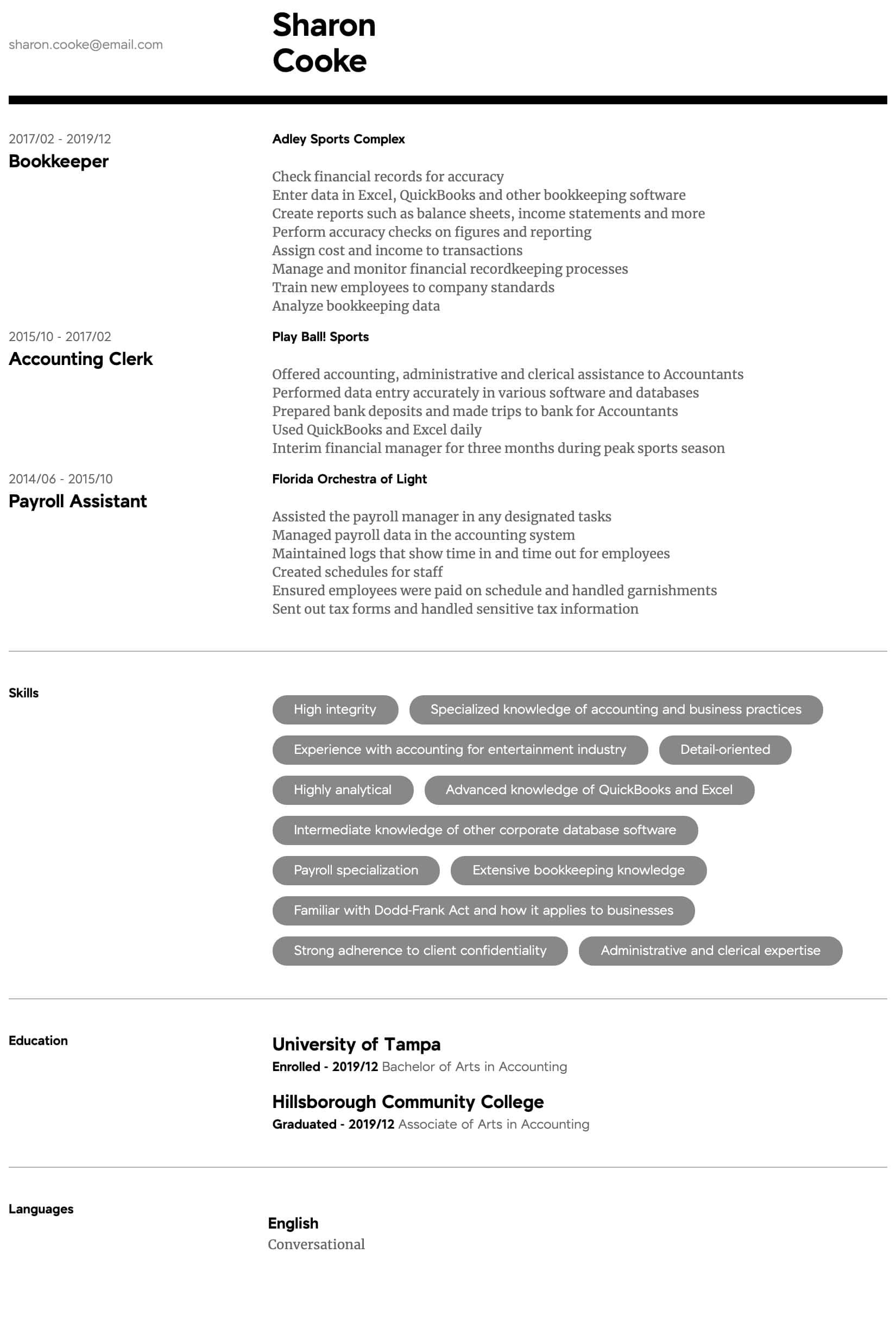 Accountant Resume Samples All Experience Levels Resume Com Resume Com