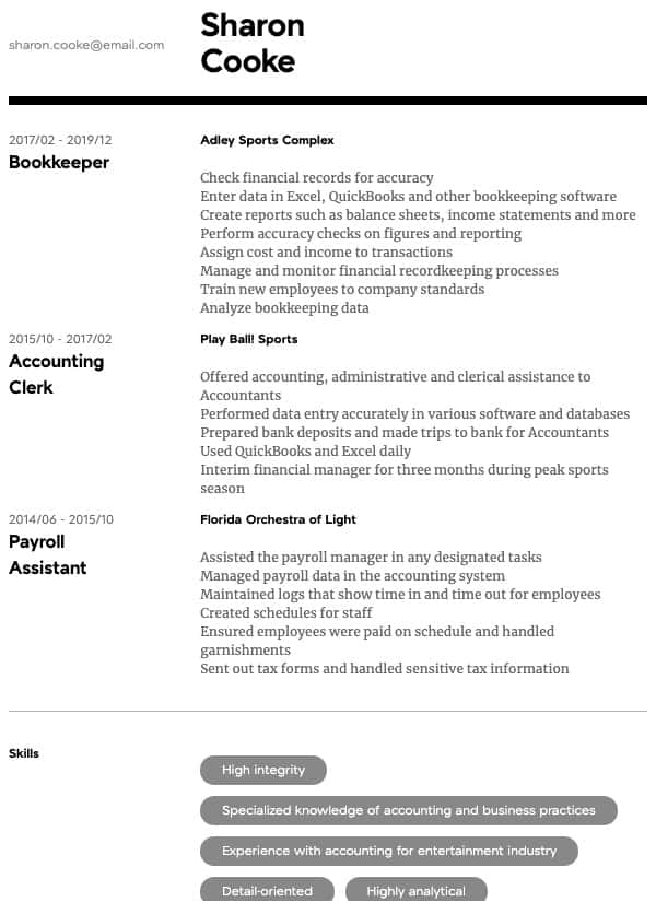 thumbnail image of Accountant resume from Resume.com