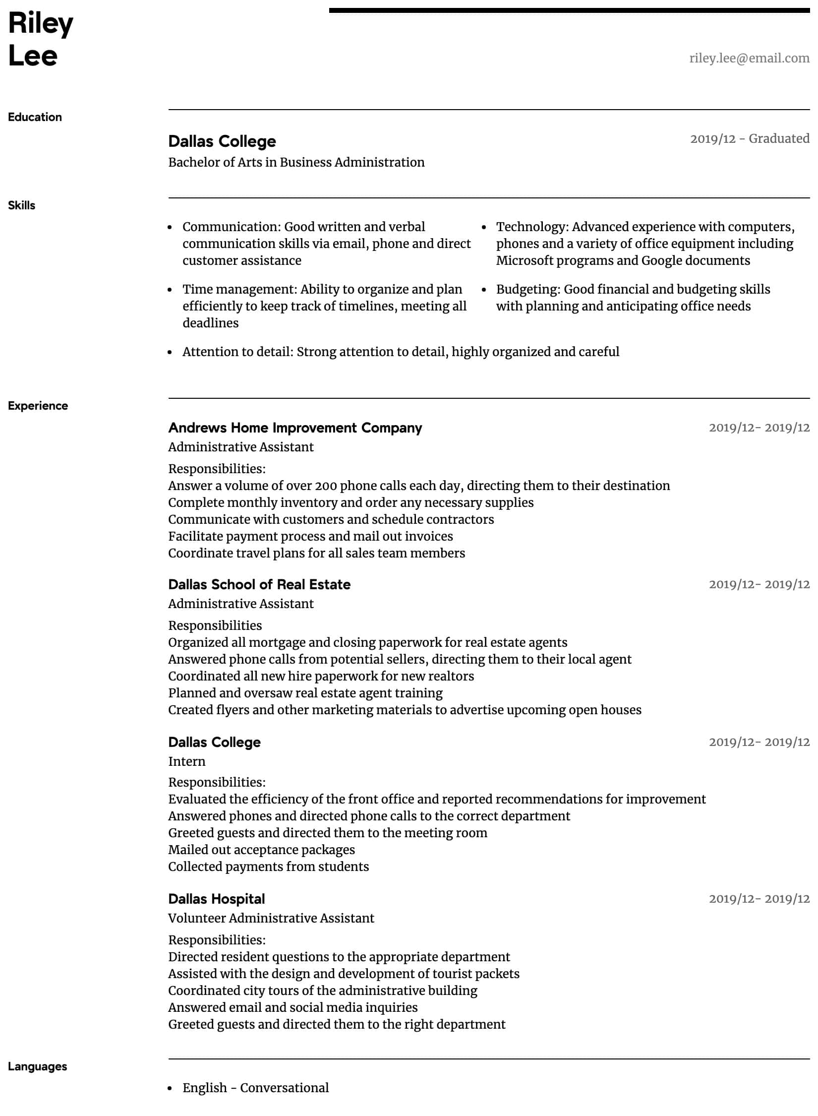 Administrative Assistant Resume Samples All Experience Levels