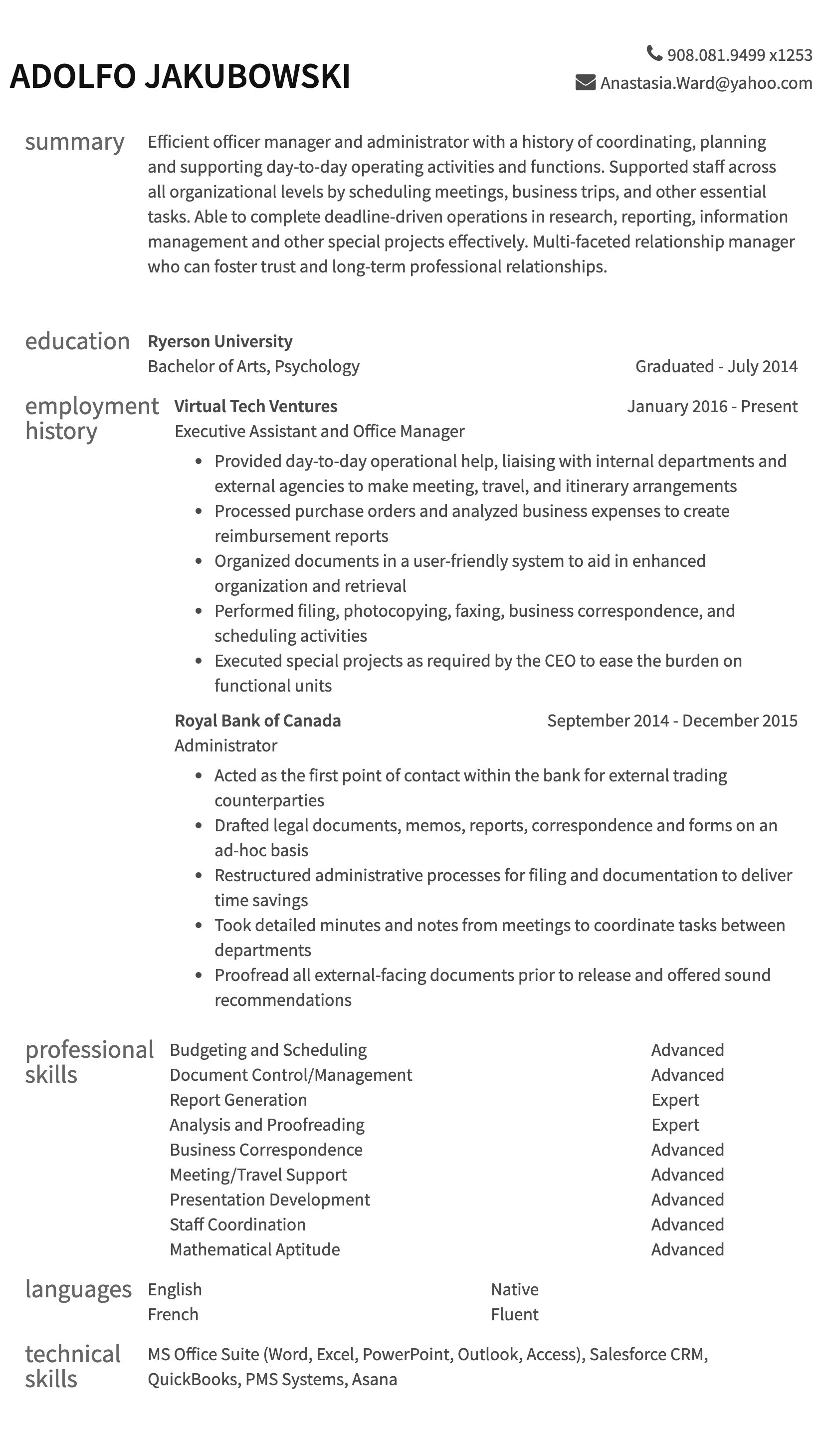 Administrative Resumes Resume Example Resume Com