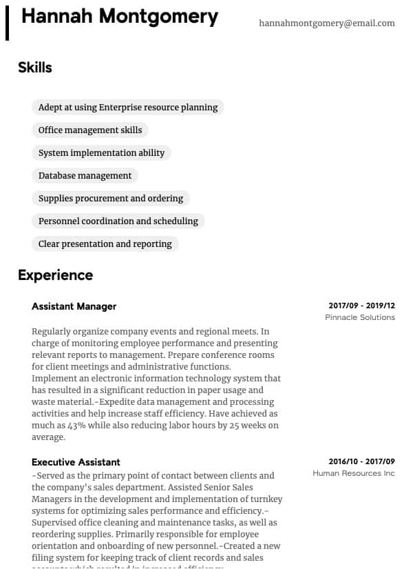 thumbnail image of Administrative resume from Resume.com