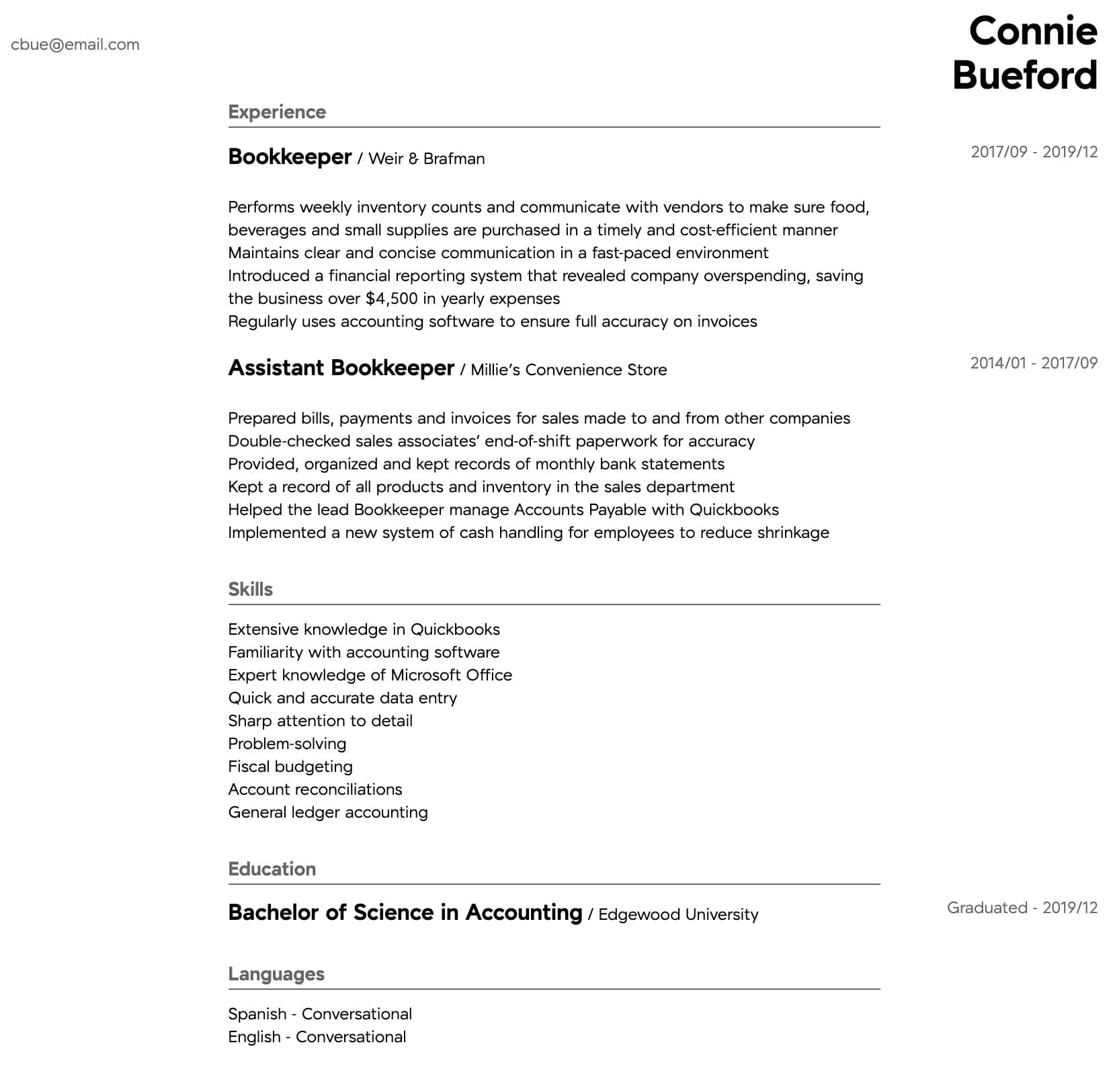 bookkeeper resume samples  all experience levels  resume