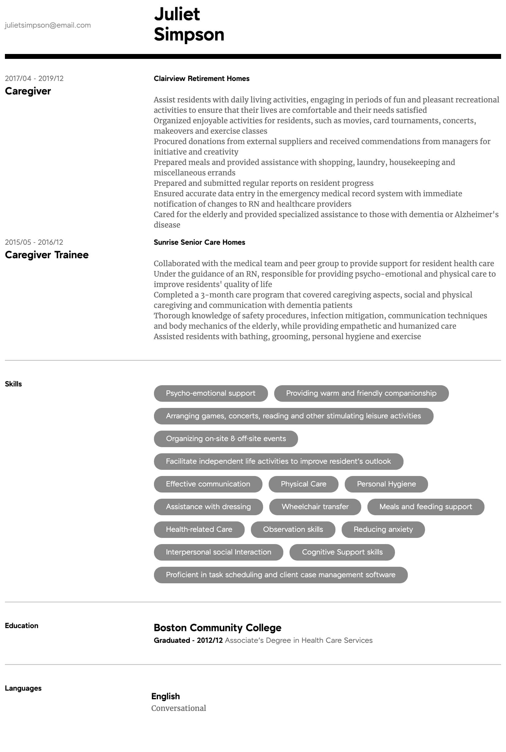 Caregiver Resume Samples All Experience Levels