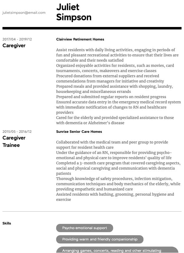 thumbnail image of Caregiver resume from Resume.com