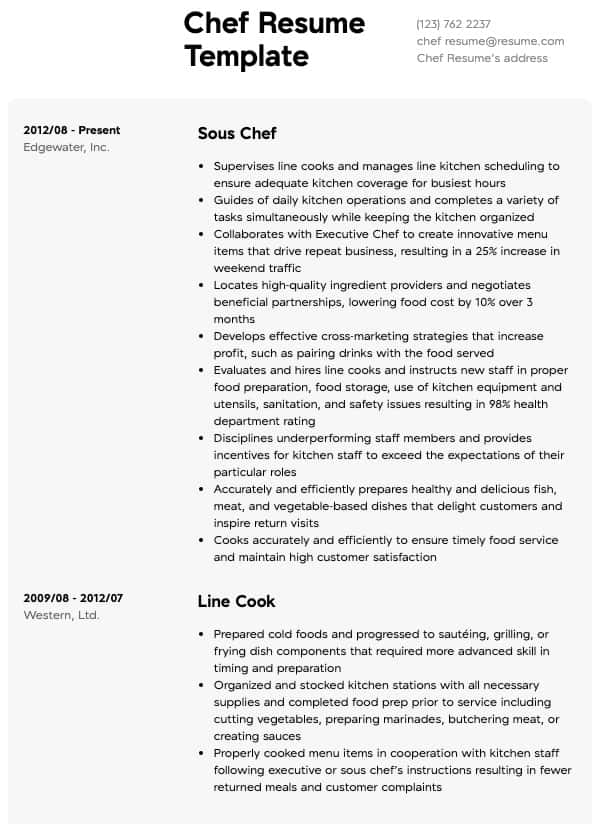 Chef Resume Resume Samples All Experience Levels Resume Com