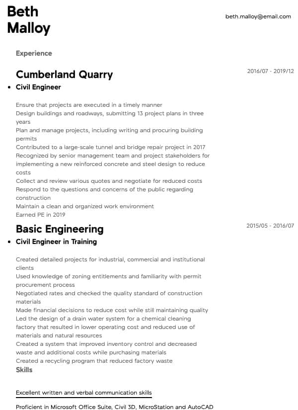 thumbnail image of Civil Engineer resume from Resume.com