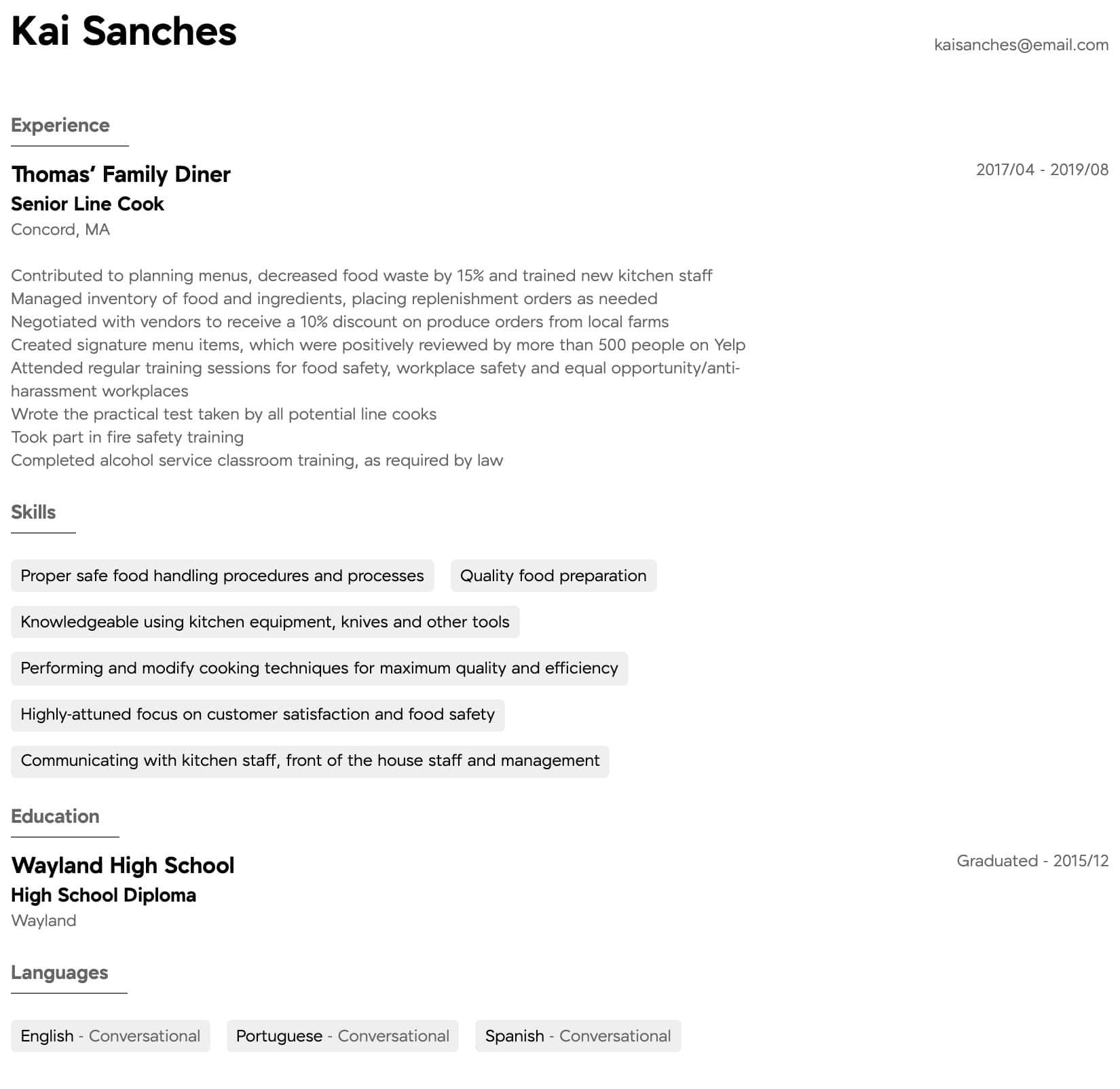 Cook Resume Samples All Experience Levels Resume Com Resume Com