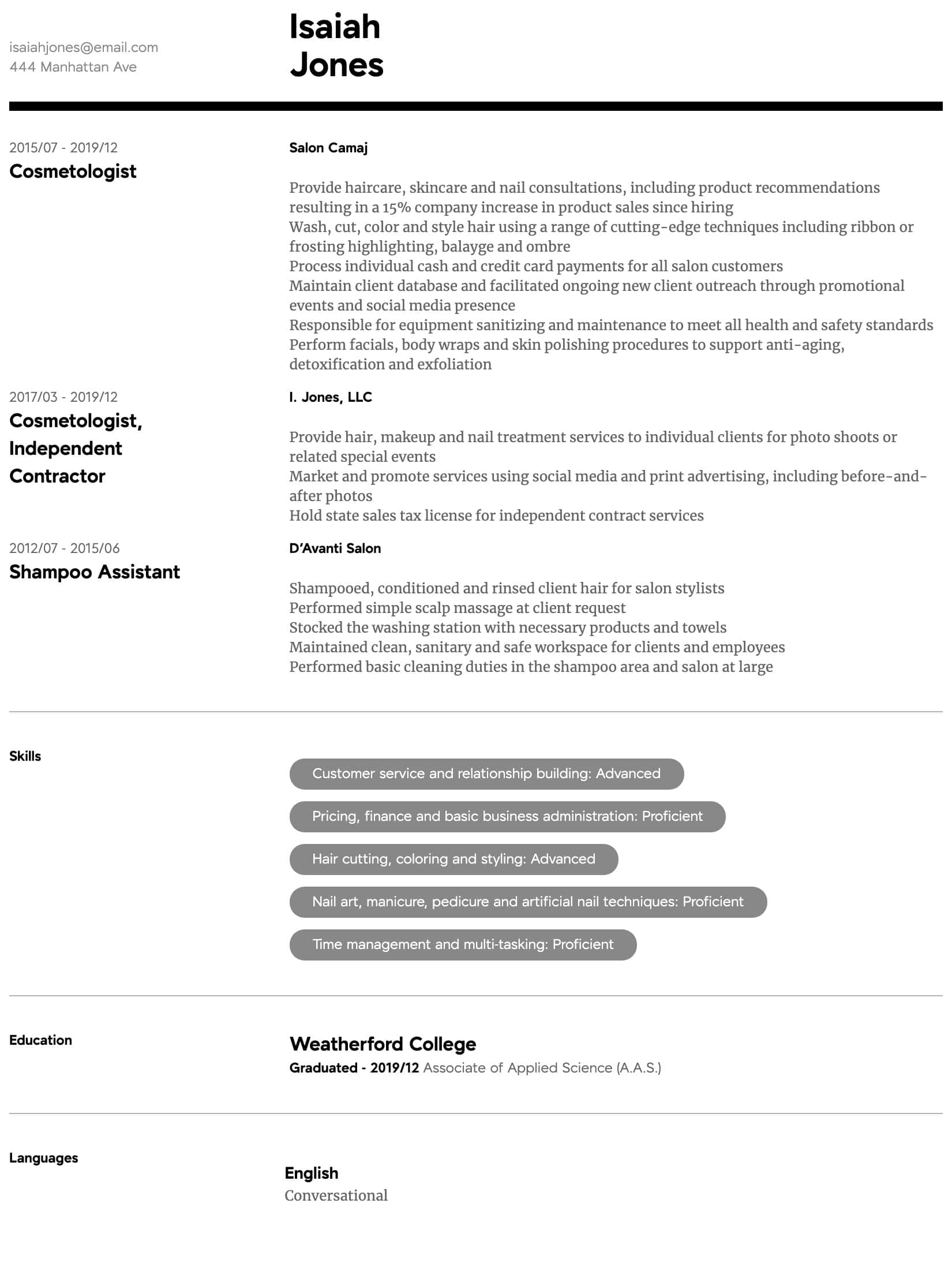 Cosmetology Resume Samples | All Experience Levels | Resume ...