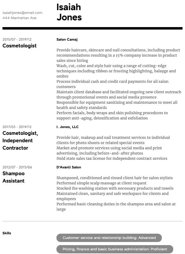 thumbnail image of Cosmetology resume from Resume.com