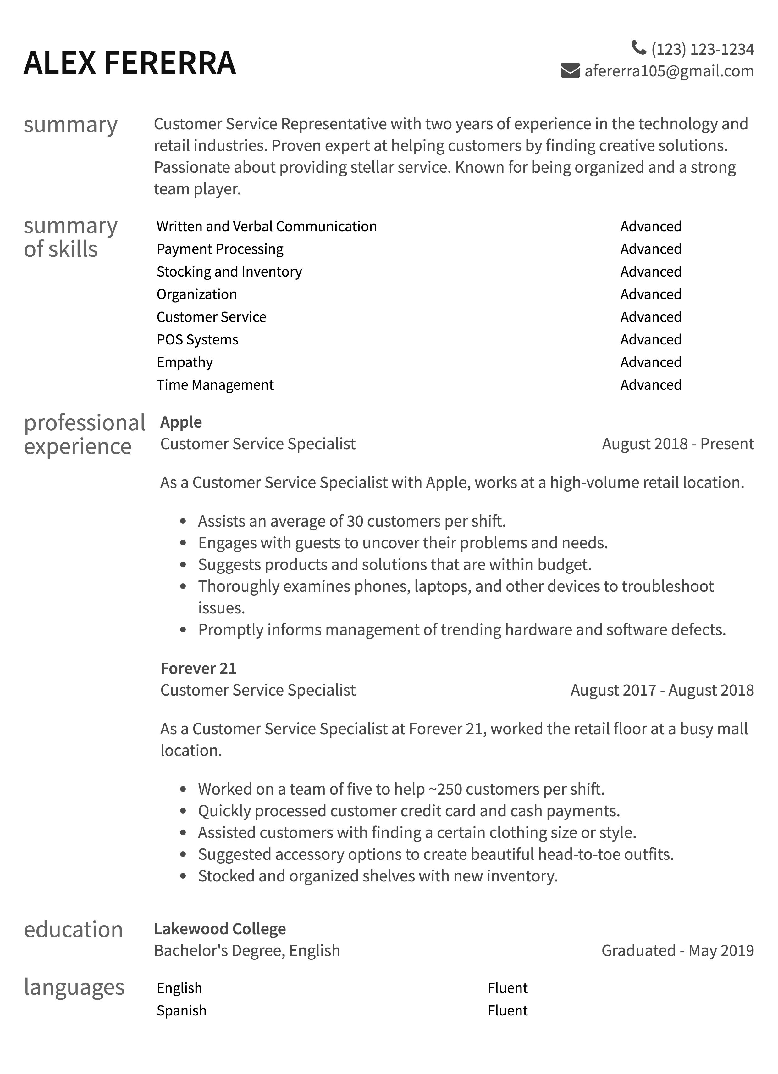 Customer Service Resume Samples How To Guide