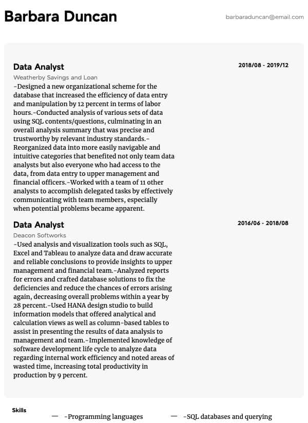 thumbnail image of Data Analyst resume from Resume.com