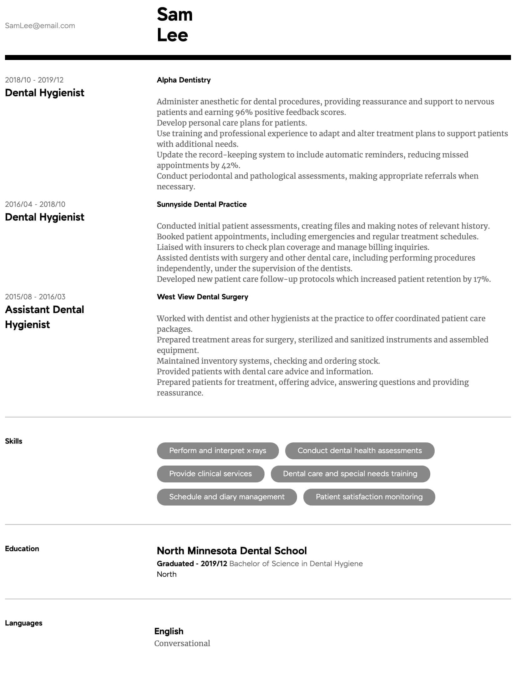 thumbnail image of Dental Hygienist resume from Resume.com