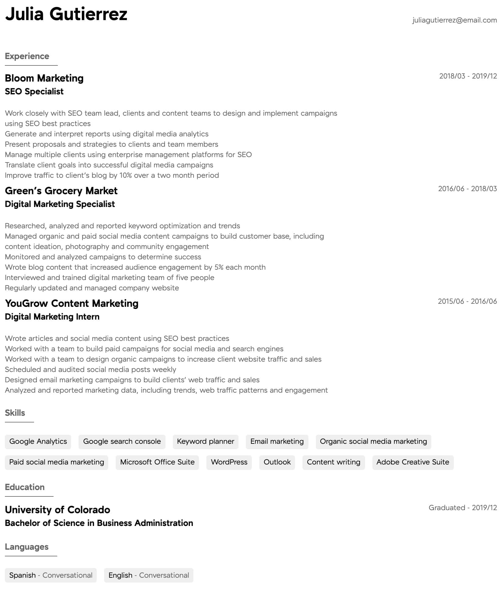Digital Marketing Resume Samples All Experience Levels Resume