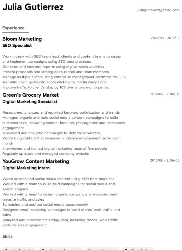 thumbnail image of Digital Marketing resume from Resume.com