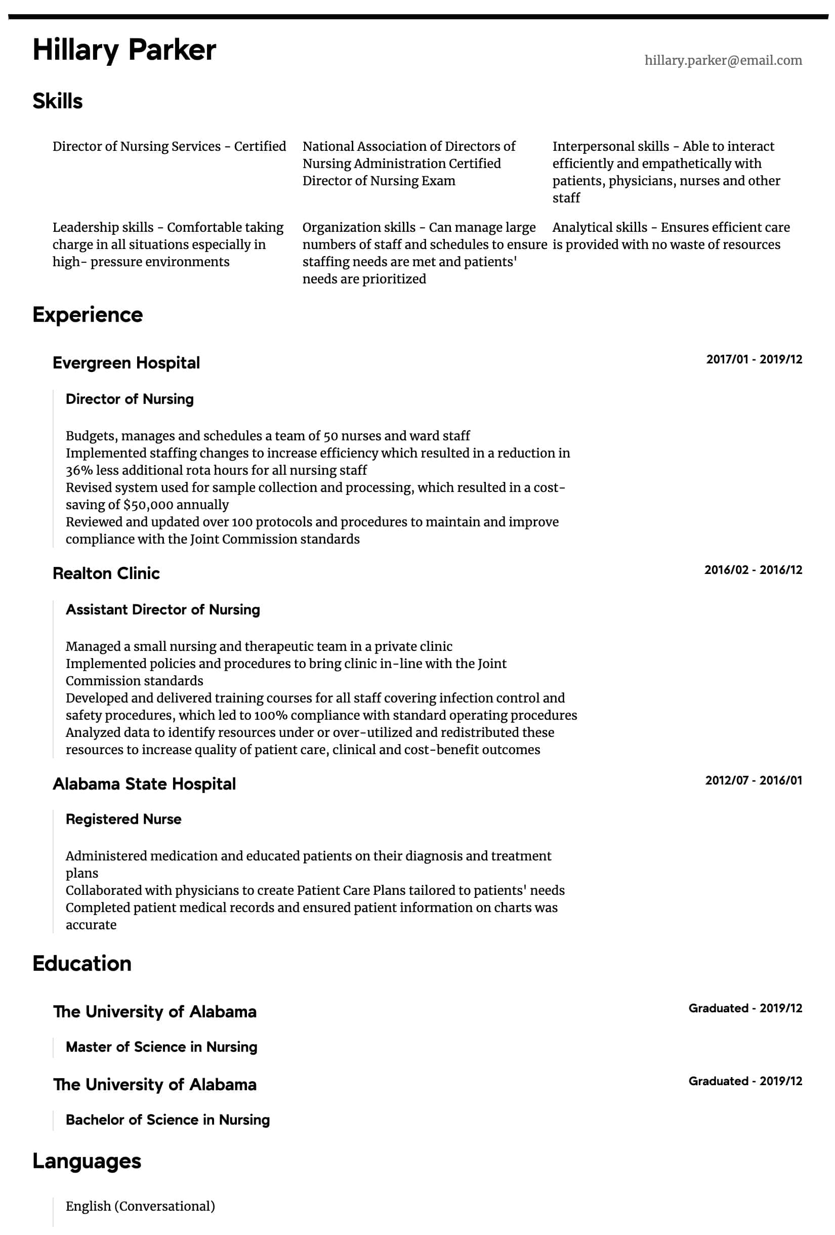 Director Of Nursing Resume Samples All Experience Levels