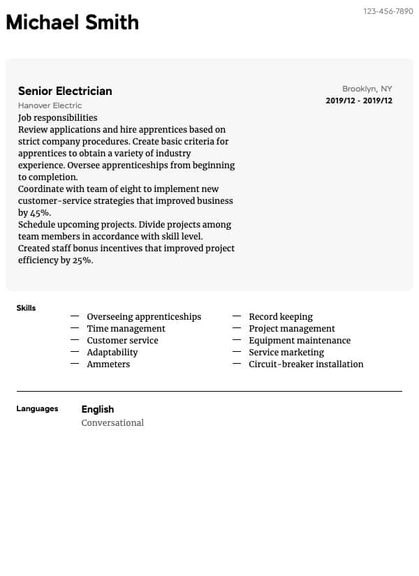 thumbnail image of Electrician resume from Resume.com