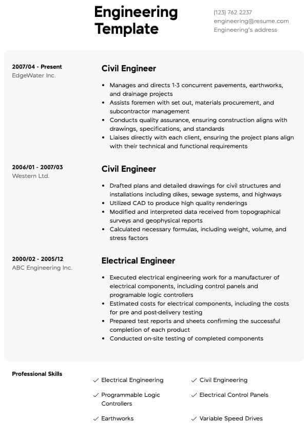 engineering resume samples  all experience levels