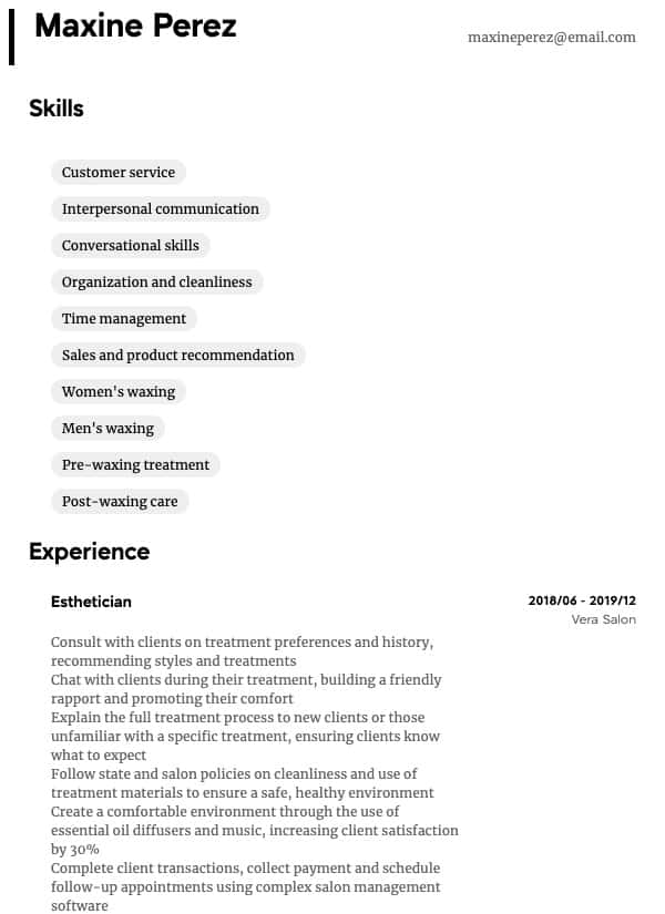 thumbnail image of Esthetician resume from Resume.com
