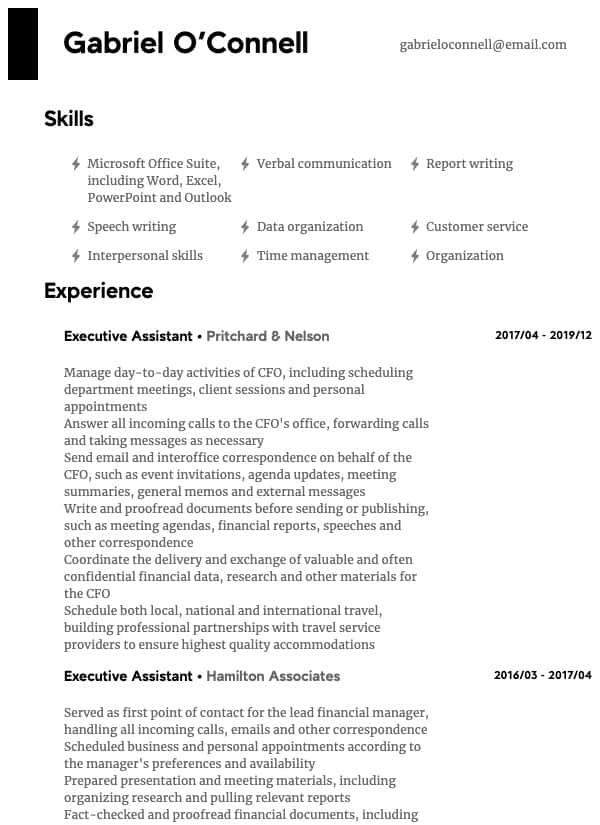 thumbnail image of Executive Assistant resume from Resume.com