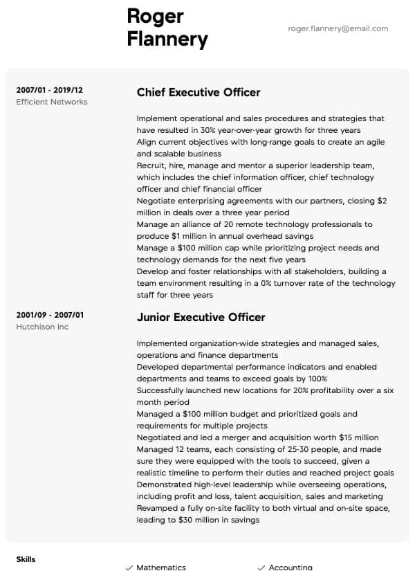 thumbnail image of Executive resume from Resume.com