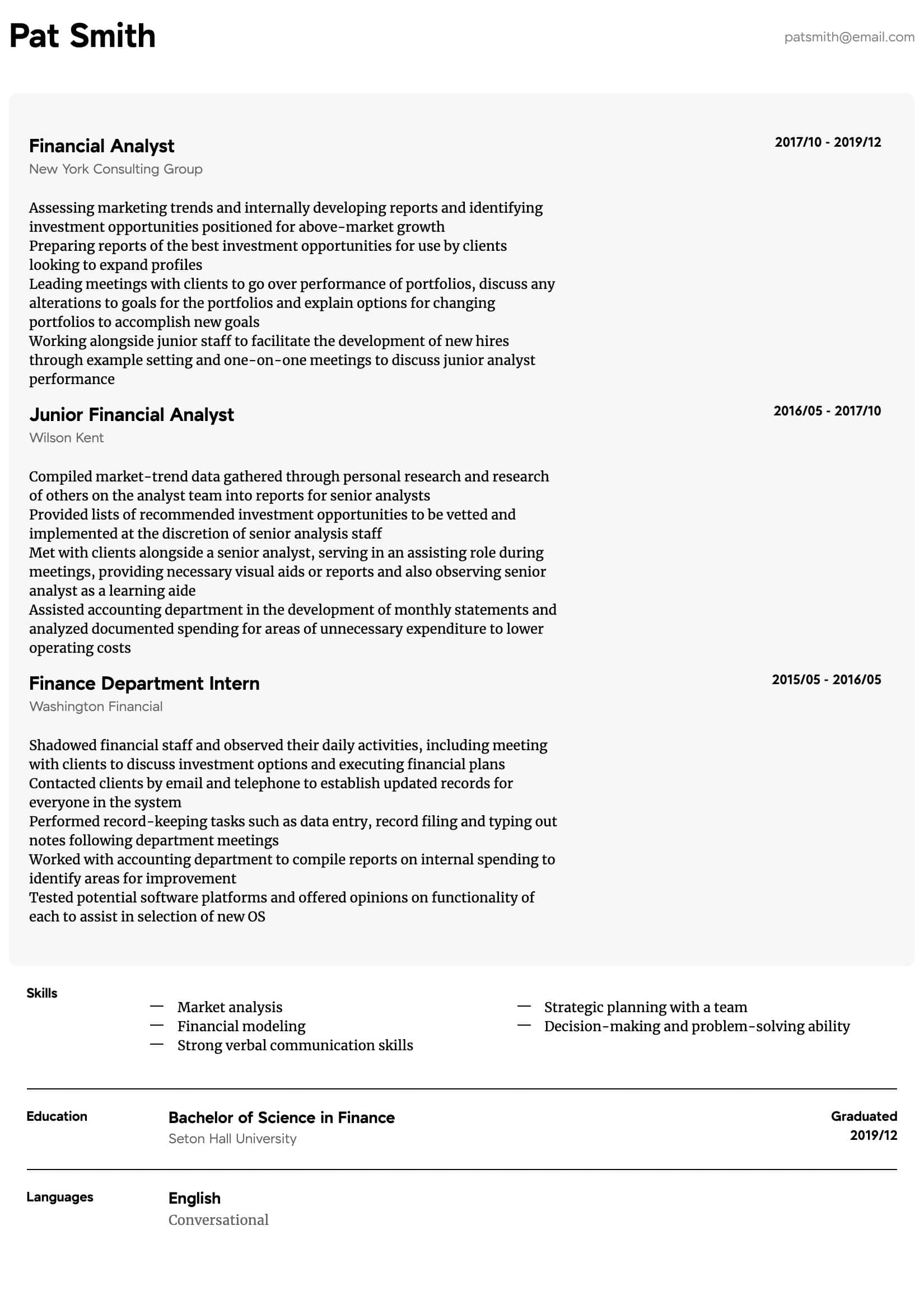 finance resume samples  all experience levels  resume