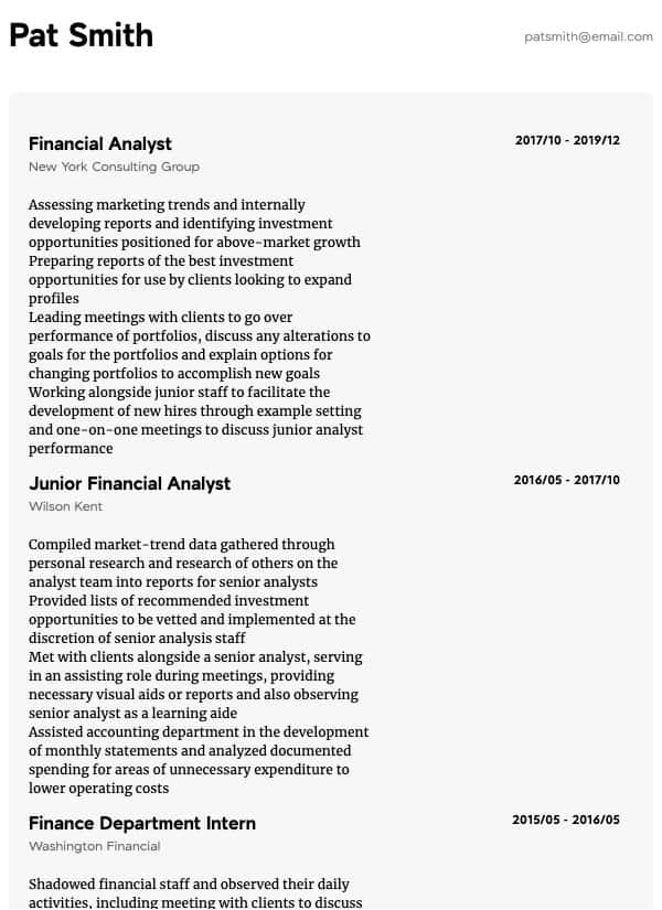 thumbnail image of Finance resume from Resume.com
