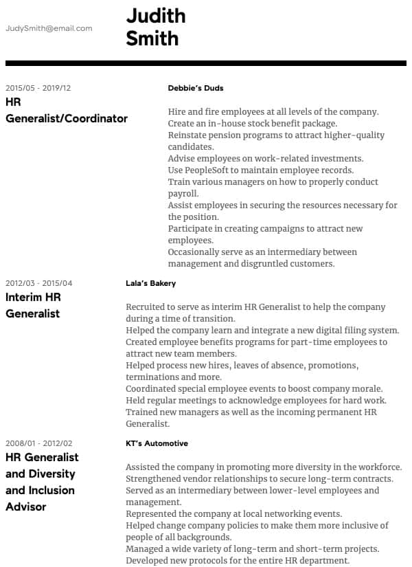 thumbnail image of HR Generalist resume from Resume.com