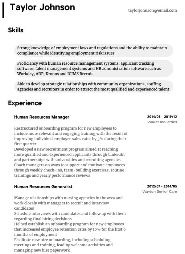 thumbnail image of HR Manager resume from Resume.com
