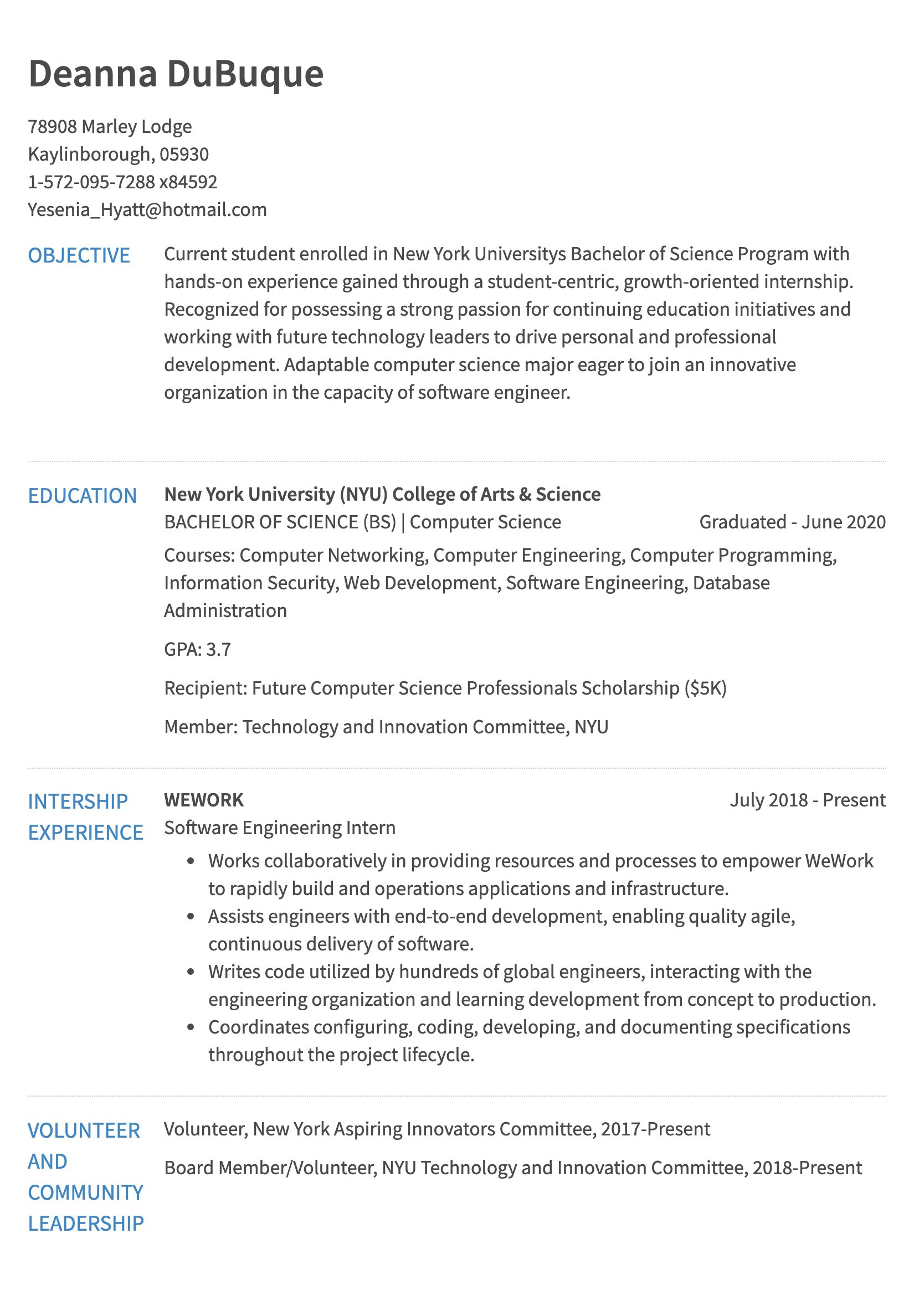 Internship Resume Example Resume Com