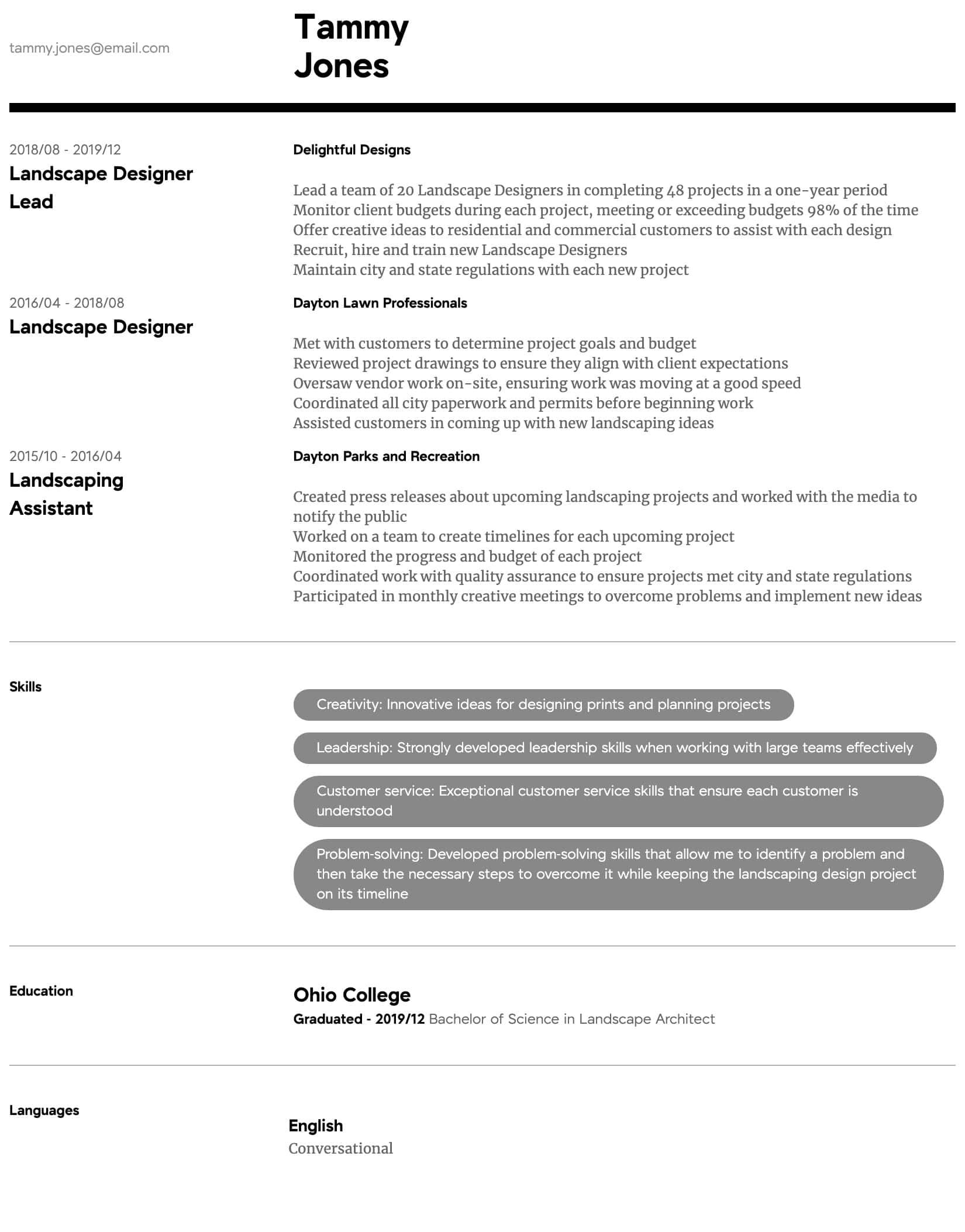 Landscape Designer Resume Samples All Experience Levels Resume Com Resume Com