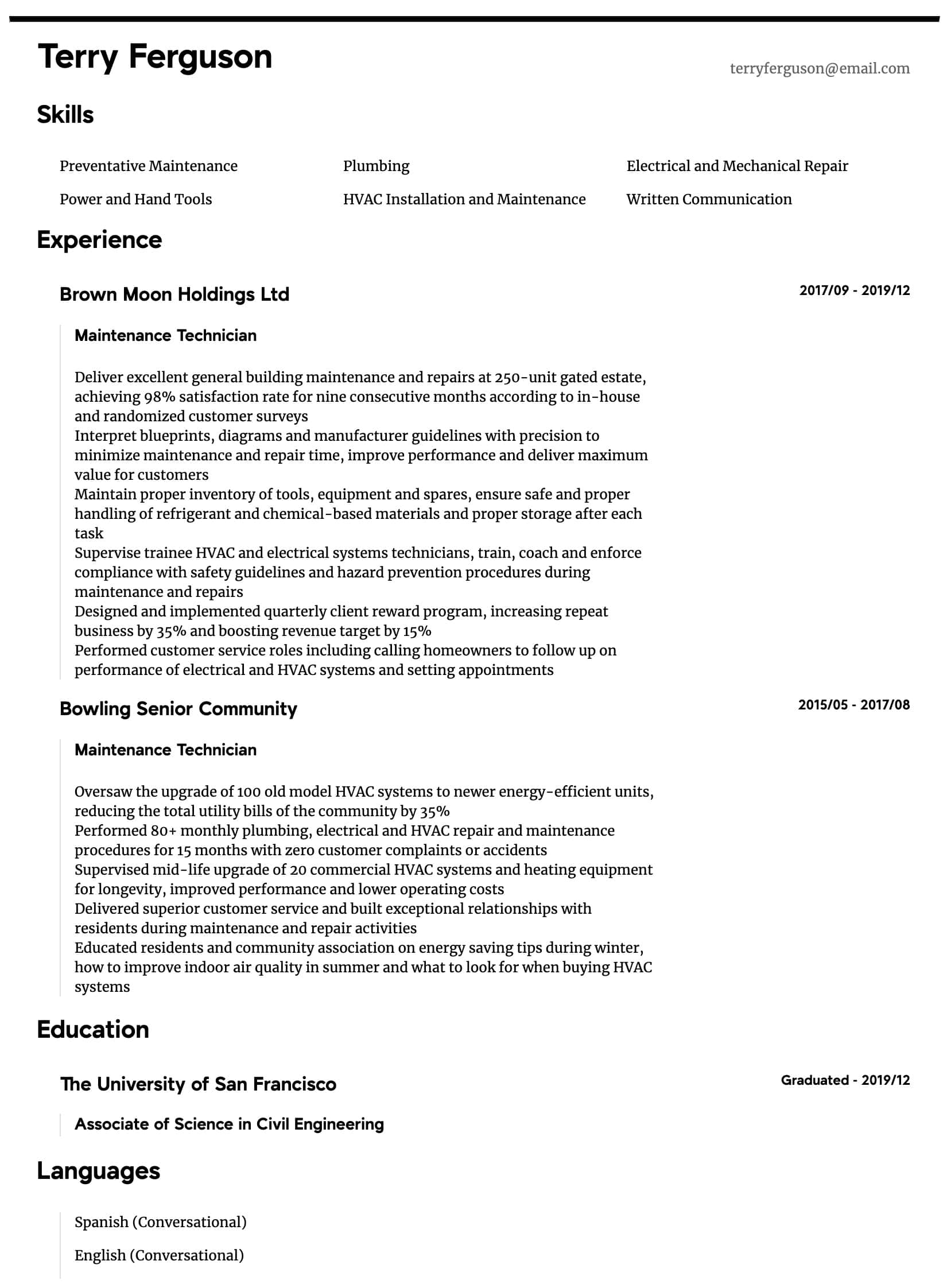 Maintenance Technician Resume Samples All Experience Levels Resume Com Resume Com